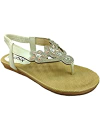9368380d3116c Ladies Chix Diamante Slingback Peep Toe Post Fashion Strappy Gladiator Flip  Flop Summer Sandal Shoe Size