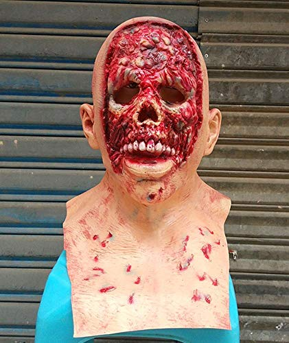 Littlefairy Maske,Halloween Horror Latex Maske faulen Gesicht voll Perücke Alien Geist volles Gesicht Zombie Latex Perücke