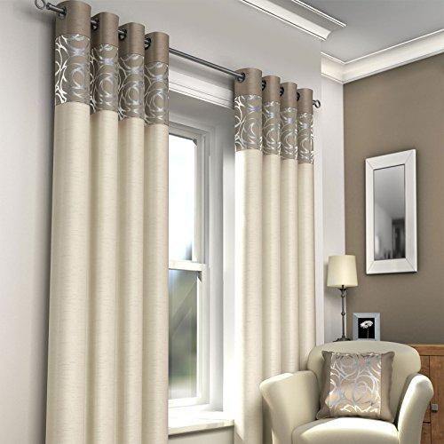 Just Contempo Tende Moderne, allineate con Occhiello, Dimensioni: 116,8 cmx 137,2cm, Colore:Beige