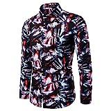 NnuoeN Camicie Uomo Maglia a Maniche Lunghe Slim Fit Shirts Originale Camicia con Bottoni Elegante Stampato Floreale Camicie Classiche da Uomo