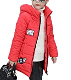 MILEEO Kinder Mädchen Winterjacke mit Kunstpelz Tailliert Lang Jacket Wintermantel Mantel Parka Oberbekleidung Winter, Rot, EU 152-158/Asia 160