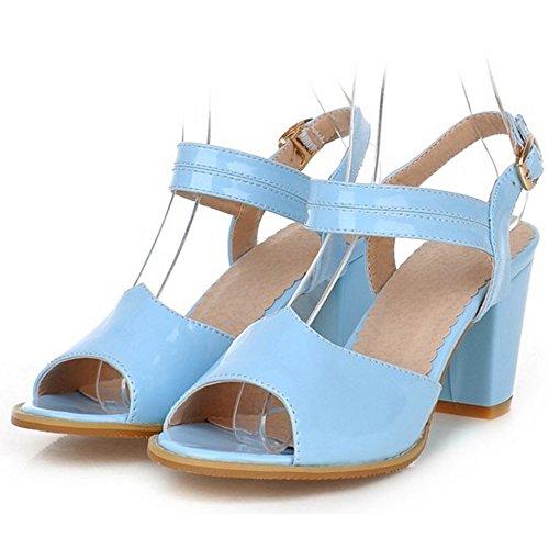TAOFFEN Femmes Classique Peep Toe Sandales Bloc Talons Moyen Sangle De Cheville Chaussures Bleu