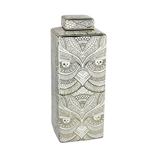 Benzara Ceramic Bird Pattern Covered Jar, White/Gold Covered Jar