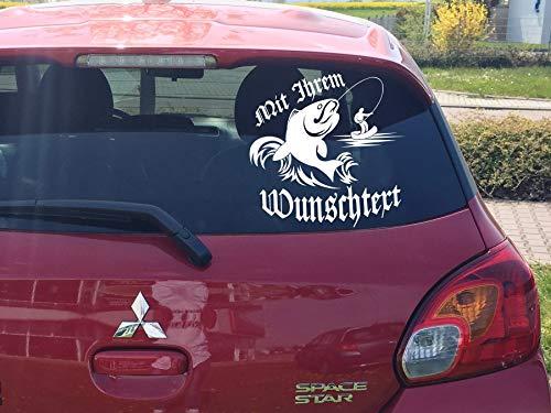 Auto Heckscheiben Aufkleber ***Angeln/Fischen mit Ihrem Wunschtext*** - (Größen und Farbauswahl) - Fisch-aufkleber Heckscheibe