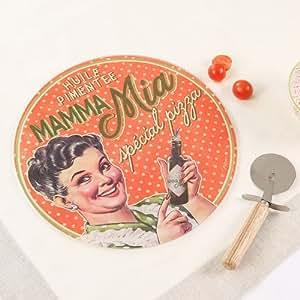 Dibor - French Style Accessories for the Home Mama Mia Service à pizza et plaque à pizza