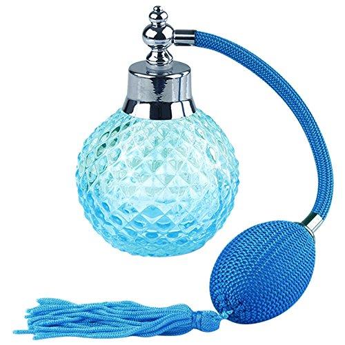 Flacon Bouteille Vide 100ml Bouteilles de Parfum Bouteilles de Pulvérisation avec Glands et Long Tube,Bleu