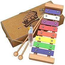 aGreatLife® Xilófono de Madera para Niños: El Mejor para Su Pequeño Músico – Crea Sonidos Mágicos con sus Manitas; Un Instrumento de Percusión con Teclas de Metal Multicolores y Dos Mazas de Madera Seguras