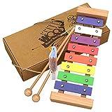 immagine prodotto aGreatLife® Xilofono di Legno per Bambini: Il Migliore per il Tuo Piccolo Musicista - Crea Suoni Magici con le Manine; Uno strumento a percussione con chiavi metalliche multicolori e due bacchette di legno sicure