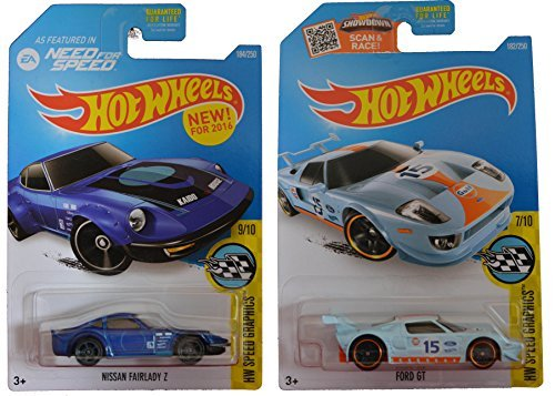 Hot Wheels 2016 Speed Graphics Nissan Fairlady Z (Need for Speed) & Ford GT 2-Car Set by Team Hot Wheels