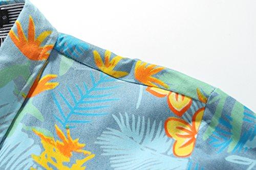 SSLR Uomo Camicie in Cotone Estate Spiaggia Button Down Manica corta Stile Hawaiana Blu