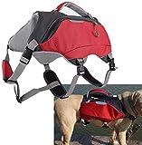 Pssopp 2 en 1 Mochila Ajustable para Perros Chaleco Salvavidas para Perros Paquetes de Viaje para Perros Senderismo Transpirable Bolsa para Perros de Camping para Perros medianos y Grandes(L)