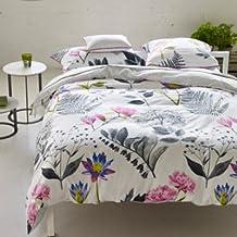 Designer Guild Mokuren sábana satén de algodón, satén de algodón, grafito, 240 x 300 cm