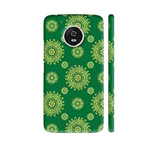 Colorpur Moto G5 Cover - Decorative Pattern On Green 2 Printed Back Case