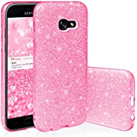 Ego® Carcasa brillante funda para Samsung Back Case Bumper brillante transparente TPU Bling suave Glamour Funda Cover rosa rosa für Samsung A520 Galaxy A5 2017