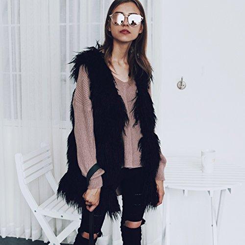 VLUNT Mode Femme Blousons Fausse Fourrure Gilet Sans Manches Manteau Col en Fourrure Synthetique Veste Artificiel Fourrure Gilet Mode Manteaux Chaudes Automne Hiver Vetements Noir