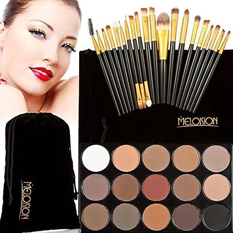 Internet 15 colores de sombra de ojos + 20 piezas de maquillaje de la cara Corrector Cepillos (F)