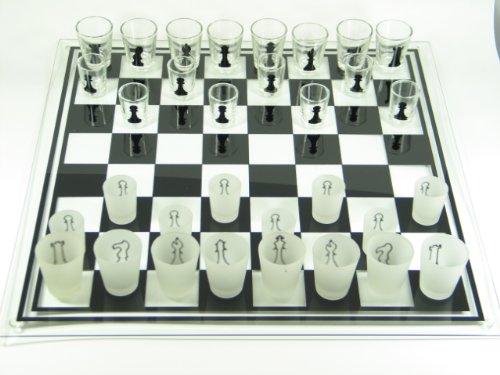 Schachbrett aus Glas 'Drinking Chess' mittel Schachspiel Geschenk