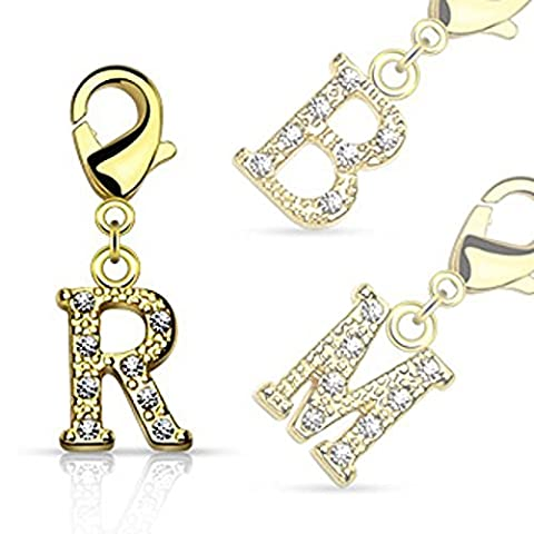 1 x Letter R Multi Crystal Encrysted Initial Gold Plated Charm with Lobster Claw Jewellery Part, Belly Bars / Bracelets and more