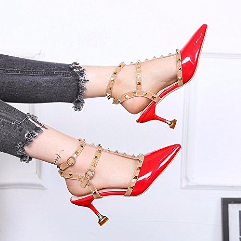 dff2070c2a57cf HBDLH Femme Chaussures/mode/One Button Little Fresh 8 cm de haut haut haut talon  Chaussures Talon fin Printemps et d'été.