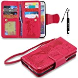 Galaxy S5 Hülle, Galaxy S5 Tasche Leder, Huphant Flip Case Leder [9 Credit Cards & Imprited Girl in Floral Skirt Serie]PU Leather Case Wallet Case Magnet Case Book Case Schutzhülle Klappbar für Samsung Galaxy S5(5.1
