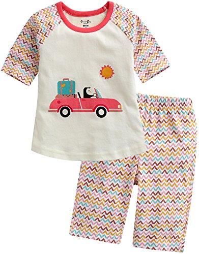 Vaenait Baby 68-110 Kinder Maedchen 2pcs kurzarme Bekleidungssets Caprihose Schlafanzug Vroom Penguin XL (Für Mädchen Penguin-schlafanzug -)