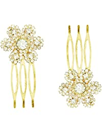 AccessHer Trendy Indo Western and Party Wear Fancy White Rhinestones Small Size Hair Pin Comb for Women