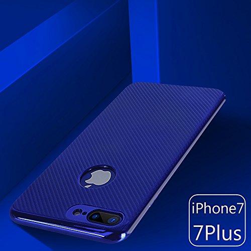 iPhone 7 plus Silikonhülle,iPhone 7 plus Hülle,xinyunew [2.5D Stahlfolie Displayschutzfolie] Anti-Fingerabdruck,Anti-Scratch,Styliche Hochwertige Extra Dünne soft Schutzhülle Schale Cover Case Hardcas Blau