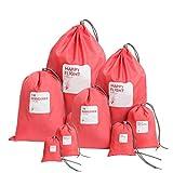 Amoyie – Set sacchettini per viaggio impermeabile, 8 pezzi, borse da palestra sacche pochette del nailon, borse organizer portatutto, sacchi da biancheria scarpa abiti file cosmetici, arancia