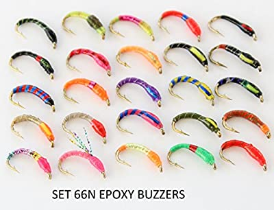 25 mixed EPOXY BUZZERS trout fly fishing flies SET 66a-HB - We have some flies that our trainee fly tiers have made - some of the hook eyes have some epoxy in them and need cleaned out hence this very good offer...please only purchase if 100% happy with t