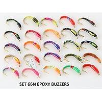 25Bottoni Epoxy Buzzers trota pesca a mosca mosche s66N–Spedizione gratuita - Salmon Gift Box