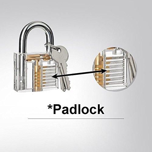 3er-Pack Praxis Lock Set, Geepro Kristall Visible Cutaway von 3 häufigsten Lock-Typen, für Schlosser Ausbildung Verschluss-Auswahl-Satz, enthält 3 verschiedene Arten von Übungs Padlock - 4