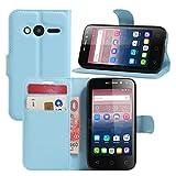 Alcatel Pixi 4 (4 Zoll) Hülle, HualuBro Premium PU Leder Wallet Flip Schutzhülle Tasche Case Cover mit Karten Slot für Alcatel Pixi 4 (4 Zoll) 4034D Smartphone (Blau)