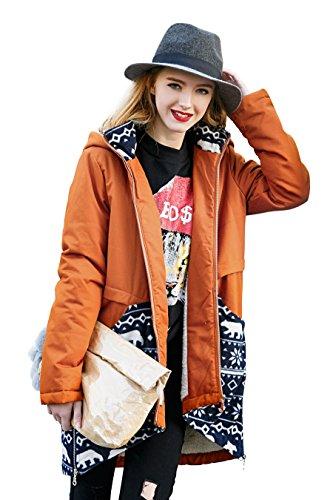 Frauen Winter Parka Jacke Casual Hooded Fleece Lange Mantel von You.U Orange