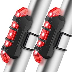 BROTOU Luz LED Trasera Bicicleta, Luz Trasera para Bicicleta Recargable USB Potente Impermeable,Luz Rojo Bici de 4 Modos de Brillo,Fácil de Instalar Luces Rojas Máxima Seguridad Ciclismo