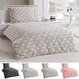 Dreamhome24 Bettwäsche Microfaser Bettbezug 135x200 Sterne Kissenbezug Grau Taupe silber