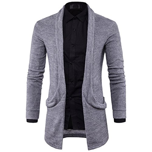 Herren strickjacke tracht VENMO Mens Slim Fit Sweater mit Kapuze Fashion Solid Long Graben Mantel Jacke Herbst Elegante Lang Trenchcoat Winterjacke Business Parka Windbreaker Überzieher (XL, Gray)