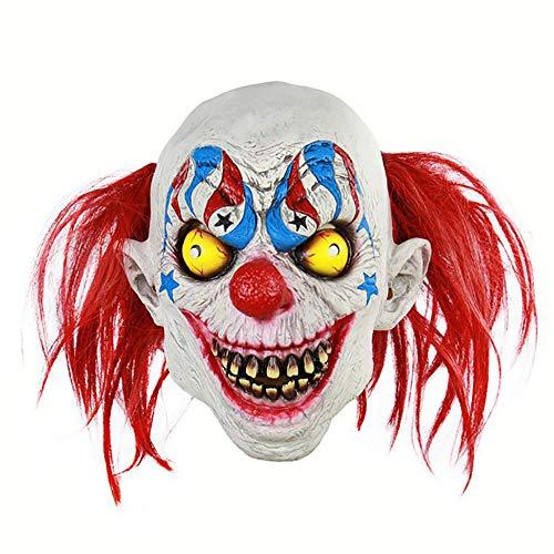 Zirkus Kostüm Scary - H_y Weihnachten und Halloween Terror Latex Maske, Scary Streich Zirkus Clown Maske, geeignet für Halloween Kostüm Party Bar Requisiten Maskerade