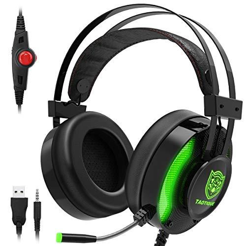 JINDUN 12 PS4 PC Xbox One Gaming-Headset, Professionelle Kopfhörer mit kristallklarem LED-Audio, Mikrofon mit Geräuschunterdrückung, Kopfhörer mit Lautstärke und Stille für Mac Phone Tablet (Grün)