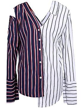 Gamiss Moda Mujer Camiseta Blusa Playa Rayas Mangas Largas Hombros  Descubiertos Camisas Irregular Azul S - ac8f42a4f3853