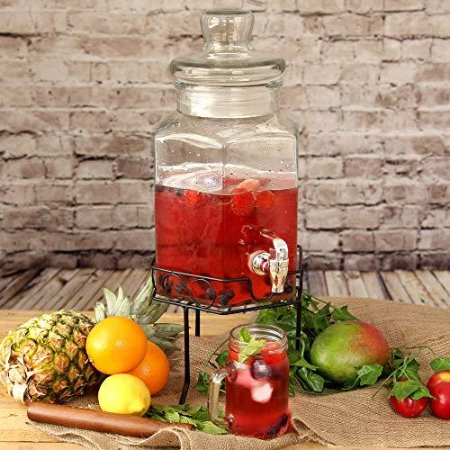 drinkstuff - Dispensador de bebidas (cristal, incluye soporte, 5,6 l)