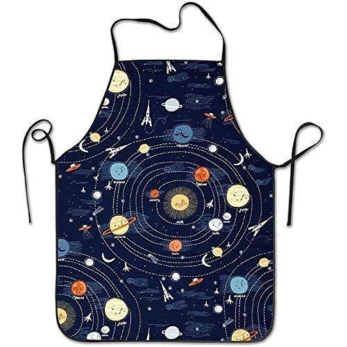 Dsfa grembiule di moda sistema solare casa vestito leggero per chef cameriera cameriera per uomo da donna famiglia grembiule da barbecue