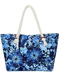 Große Strandtasche mit Reißverschluss 58 x 38 x 18 cm Federn Shopper Schultertasche Beach Style