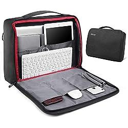 REYLEO Maletín para Portátil 15.6 Pulgadas Impermeable Bolsa de Portátil de Negocios Bandolera de Viaje con Correa de Equipaje para Hombres Mujeres para MacBook HP DELL Lenovo Notebook Tableta, Negro