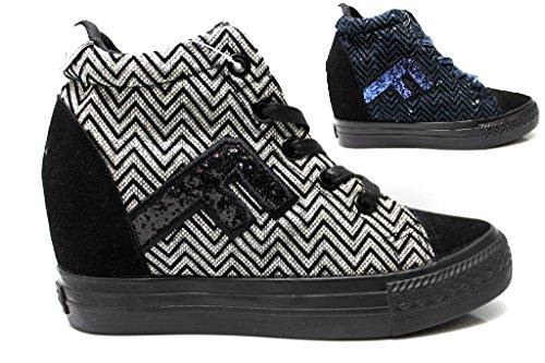 Fiorucci FDAE024 Nero e Blu Sneakers Donna con Zeppa Interna Calzature Comode