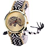 Culater® Doux Femmes éléphant Motif Bande de Corde Tissé Bracelet Montres à Quartz Cadeau Noir + ...