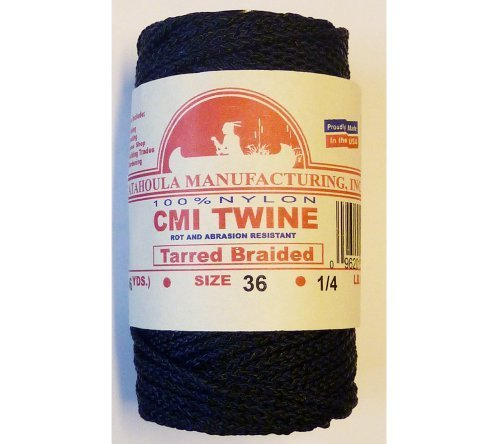 138' Catahoula Manufacturing #36 Tarred Braided Nylon Twine (Bank Line) 300 lb Test by Catahoula Manufacturing, Inc.