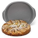 Backefix runde Kuchenform Backform Obstkuchenform aus Silikon - antihaftende Auflaufform ohne einfetten flexibel grau, Ø 25 cm