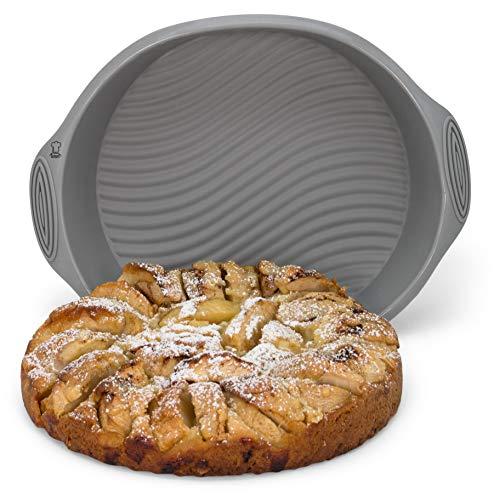 Backefix runde Kuchenform Backform Obstkuchenform aus Silikon - antihaftende Auflaufform ohne einfetten flexibel grau, Ø 22,5 cm