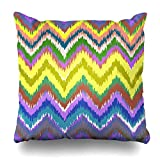 VVIANS Decorativepillows Case Throw Pillows Covers For Couch/Bed 18 X 18 Inches,Ethnic Zigzag Chevron Ornament Tribal Zig Zag Neom Yellow Pink Ikat Home Sofa Cushion Cover Pillowcase Gift