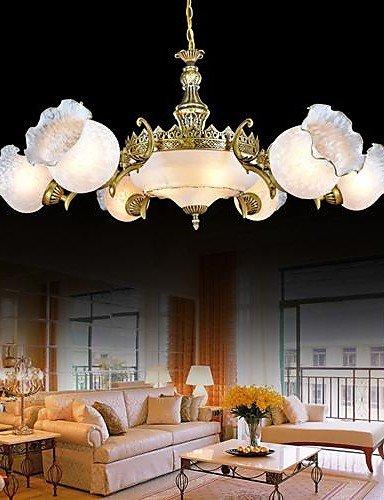 Bronze Kronleuchter neun Lichter Glas europäischen Retro-Klassiker 220v - Bronze-neun-licht Kronleuchter